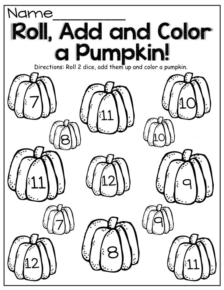 Roll two dice, add and color the pumpkin!