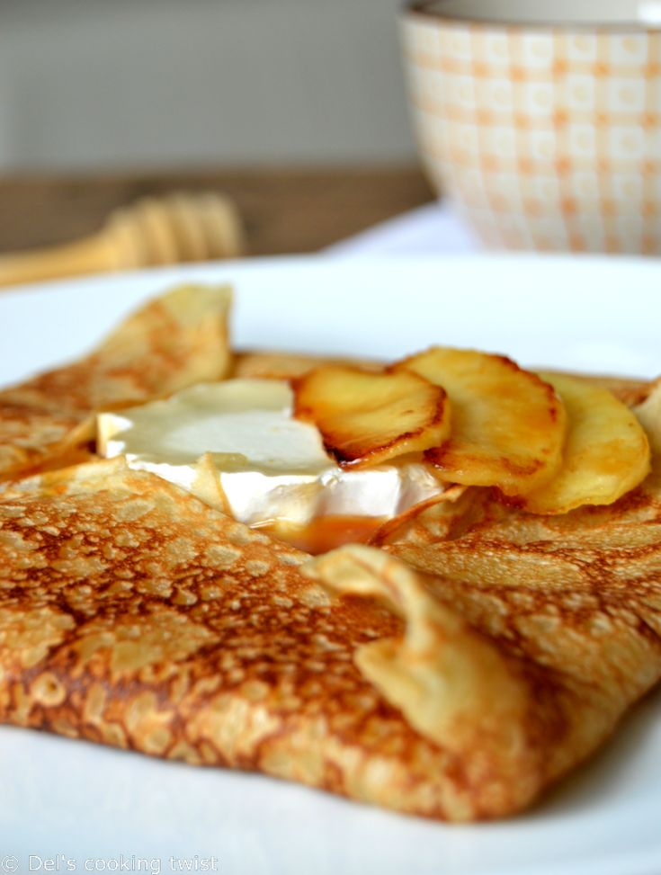 French Crêpes with Goat Cheese and Salted Caramel Apples | Del's cooking twist