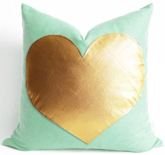 Sukan / Gold Heart  Mint Green Linen Pillow - Pillow Cover - Gold Heart Pillow - Decorative Pillow - Accent Pillow - Valentine Day Gift