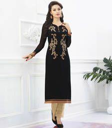 Buy Black Georgette embroidered kurti kurtas-and-kurti online