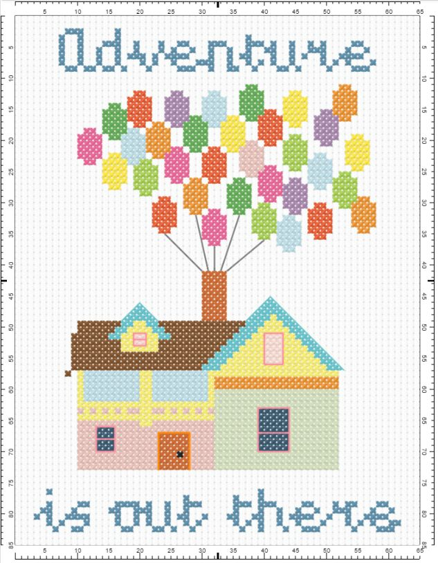Up! - Adventure is out there cross-stitch pattern