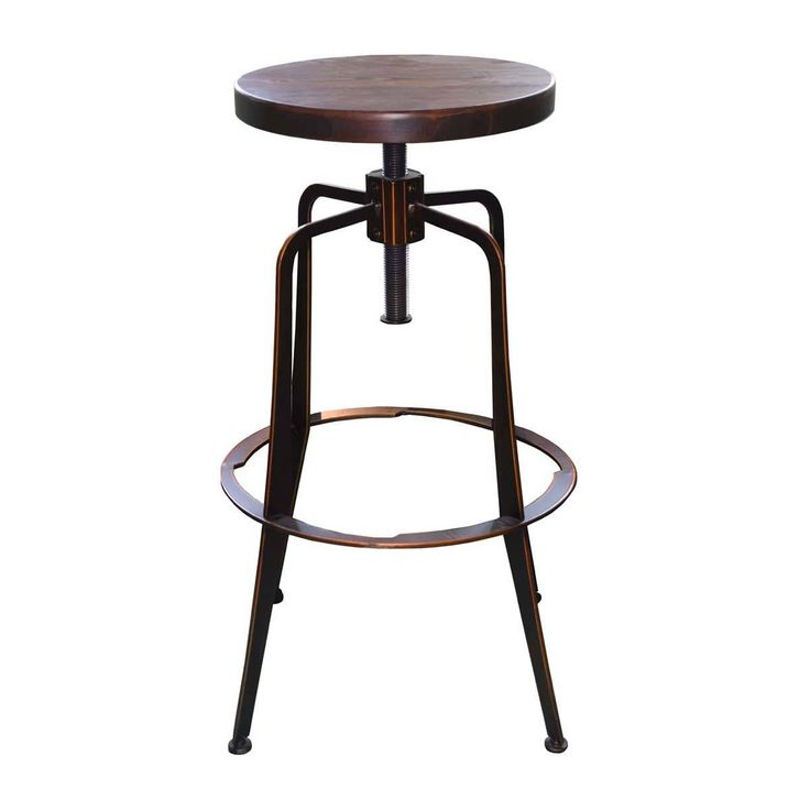 Browse Industrial Bar Stools Online or Visit Our Showrooms To Get Inspired With The Latest Bar Stools From Life Interiors - Ajax Bar Stool (Walnut,Antique Copper)