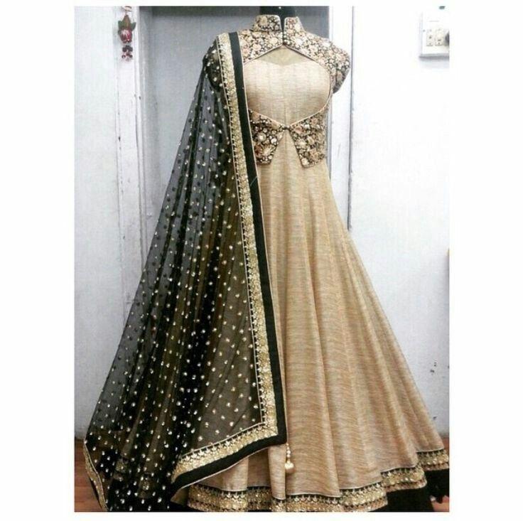 Bhagalpuri+Silk+Machine+Work+Cream+Semi+Stitched+Long+Anarkali+Suit+-+CSST at Rs 1699