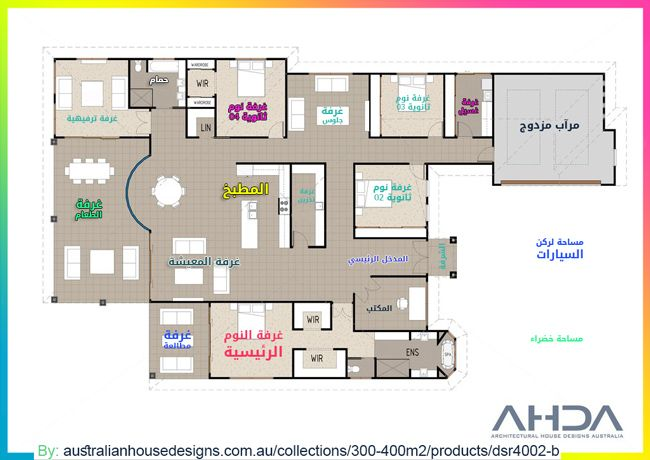 مخطط بيتدور ارضي مساحة 400 متر مربع One Storey House House Plans Floor Plans