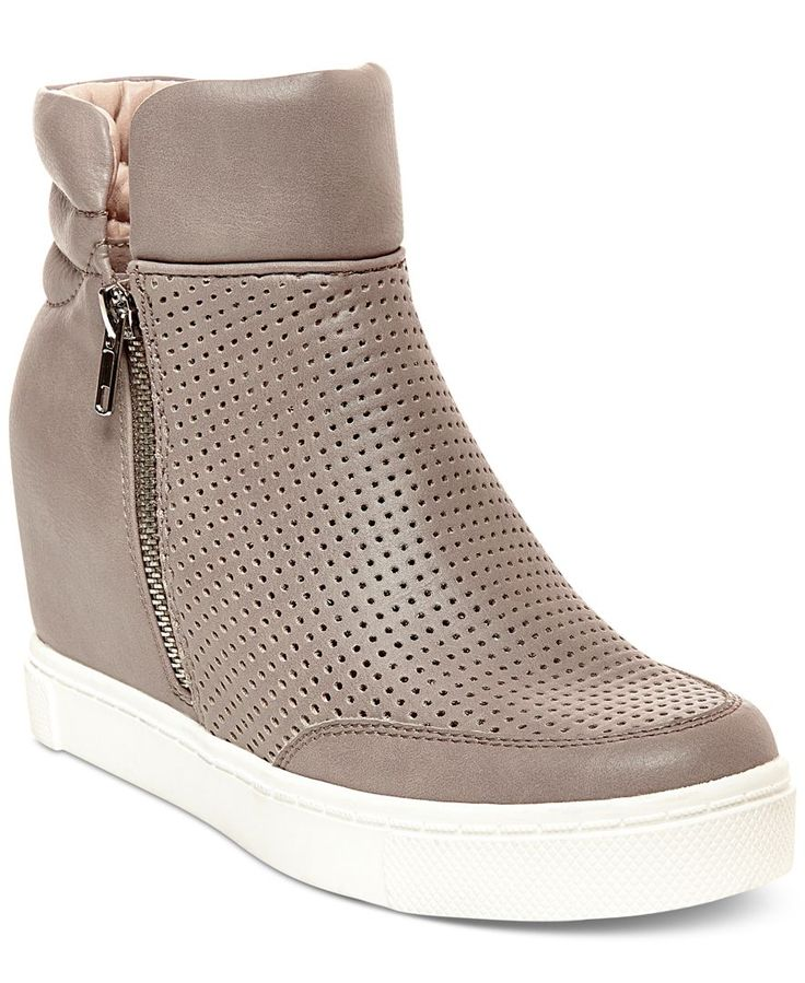 Sporty chic. Steve Madden's Linsqsp sneakers feature a hidden wedge heel and contrast platform for a fun look any time of day. | Manmade upper; rubber sole | Imported | Round closed-toe hidden wedge s