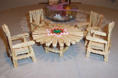 I saw a chair made of clothes pin at a thrift store and just needed to learn how to make them! Fun and easy! Its also good for the little girls and their Barbie dolls.