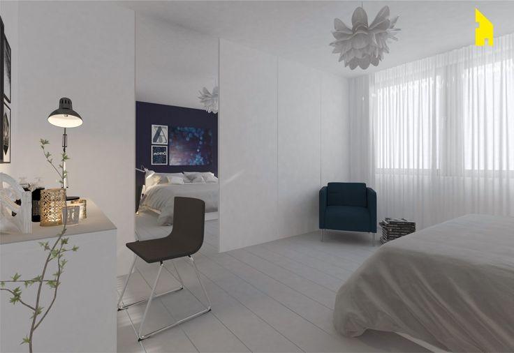 Minimalistyczna sypialnia z akcentem - kmwewnetrzu.pl