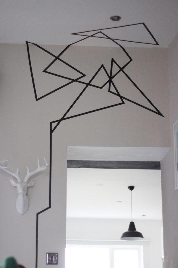 19 ideas originales para decorar tus paredes con cinta for Disenos para pintar paredes