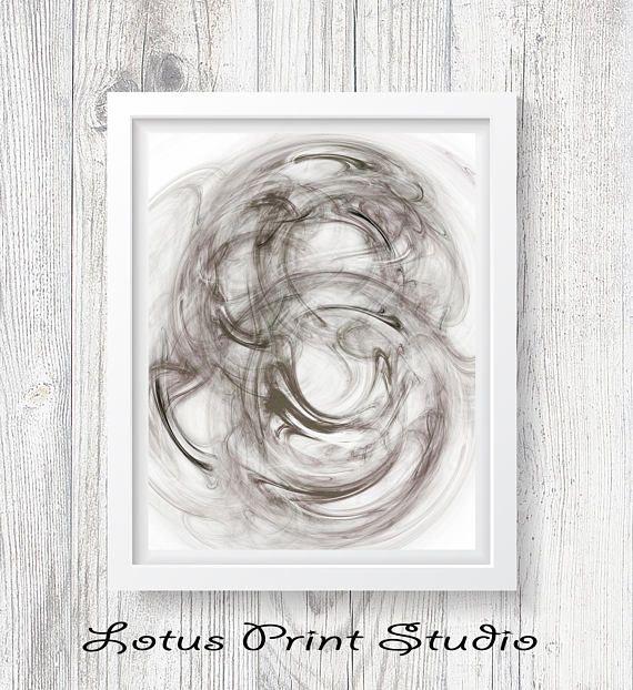 Abstract Brush Strokes Print Black & White Watercolour Wall