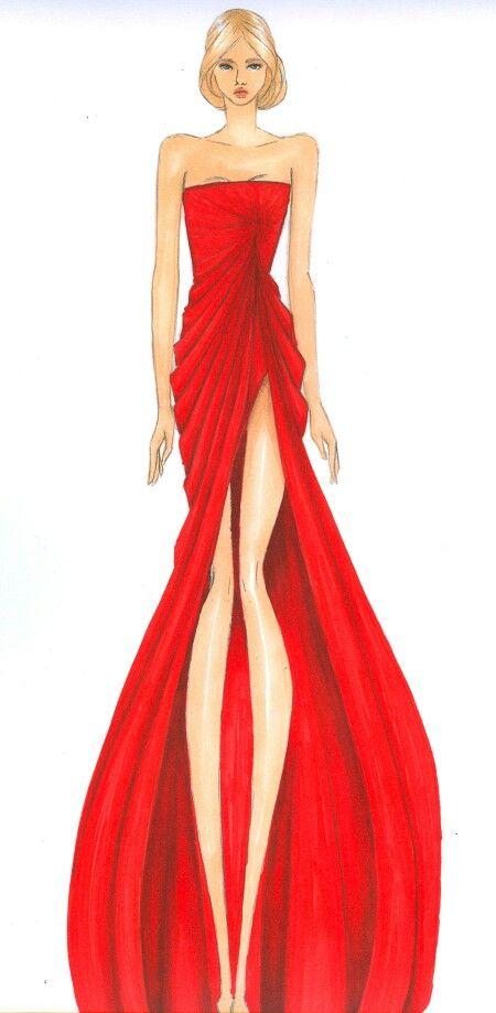 Elie Saab red dress illustration
