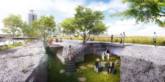 SYNWHA Consortium Wins Competition to Design Waterfront Park for Busan North Port,Harbor Block Garden. Image Courtesy of SYNWHA Consulting