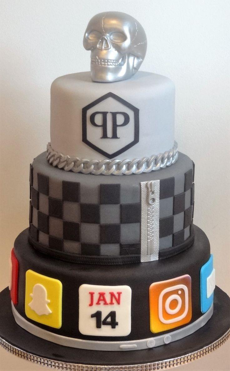 Philippe Plein, Louis Vutton, een zilveren skull en vele apps op de verjaardags taart van Jan Bauer