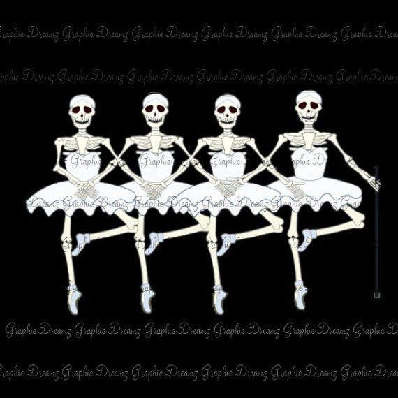 dancing skeletons nokm1227 digital illustration image iron on transfer for fabric - Dancing Halloween