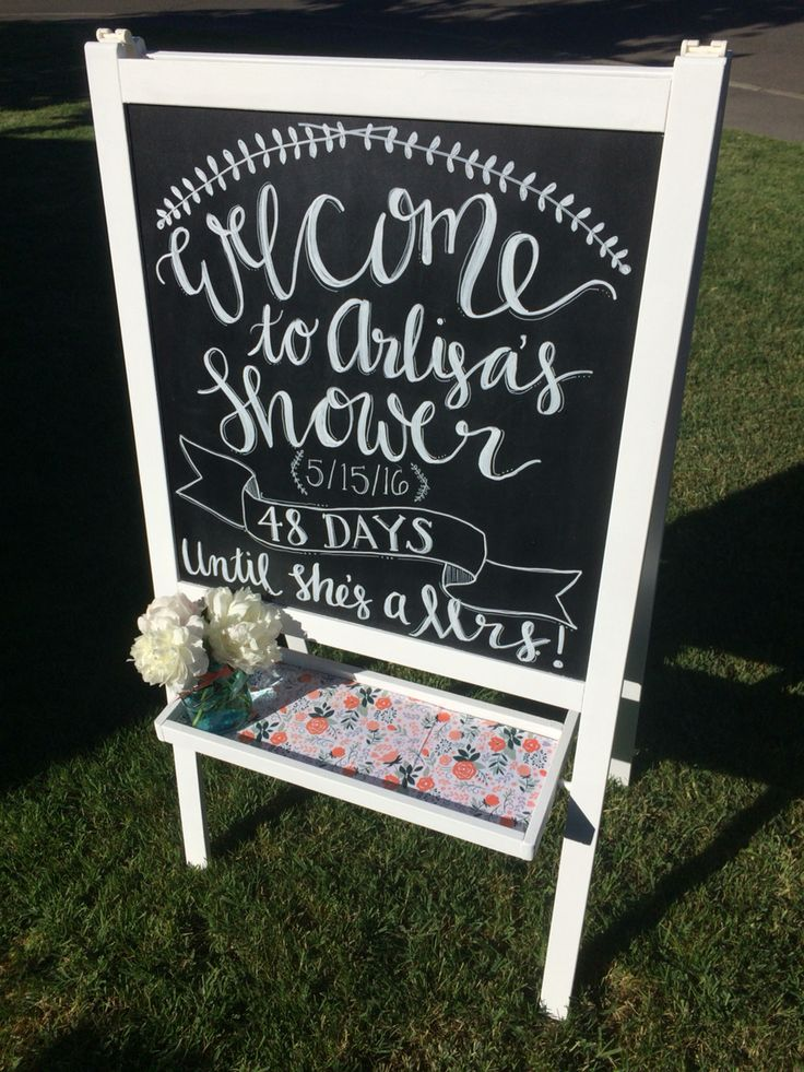 IKEA easel remake! Bridal shower welcome chalkboard- www.facebook.com/avintagetouchparty/