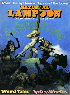 National Lampoon, April 1971. Cover art by Frank Frazetta.