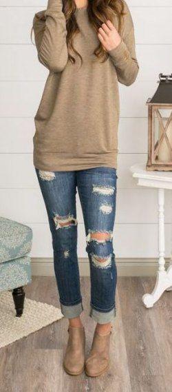 #Cute #Dress #Jeans #Ripped #Ripped Jeans fallen #Trendy
