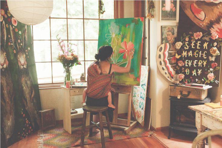 Katie Daisy in her cabin studio
