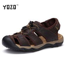 US $24.23 Men Sandals Genuine Leather Sandals Men Fashion Hook & Loop Comfortable Leisure Brand Shoes Men Beach Sandals Sandalias Hombre. Aliexpress product