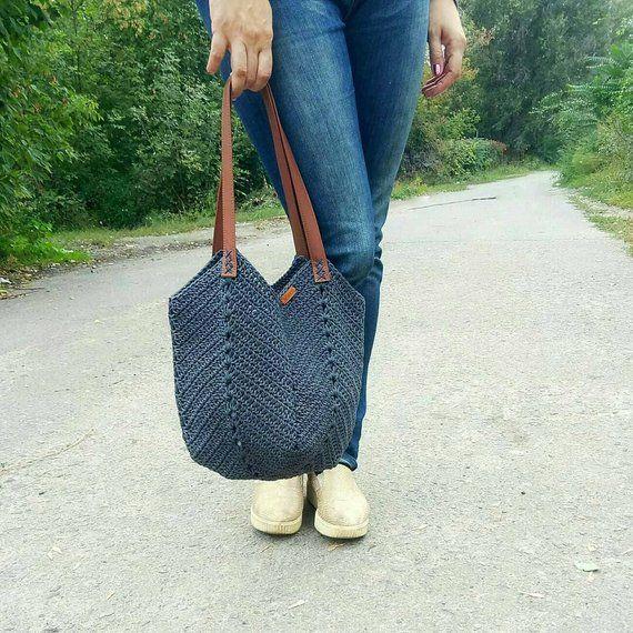 Large Tote Bag Big crochet bag beach bag Large crochet | Etsy