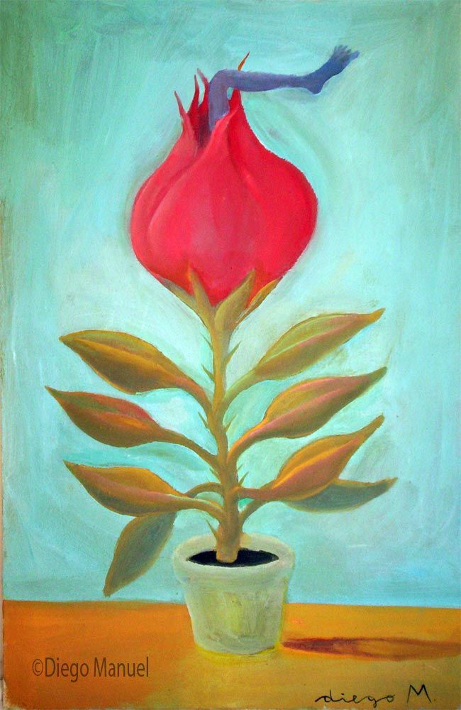 flor carnivora. Painting of the Serie Surrealism for sale by artist Diego Manuel