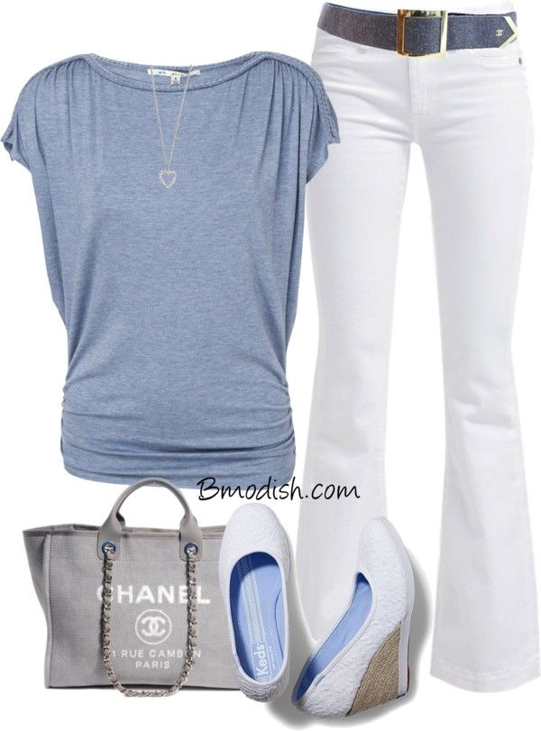 Love this out fit and so on trend with the blue top. Not to mention almost everything looks good with a great pair of white jeans!