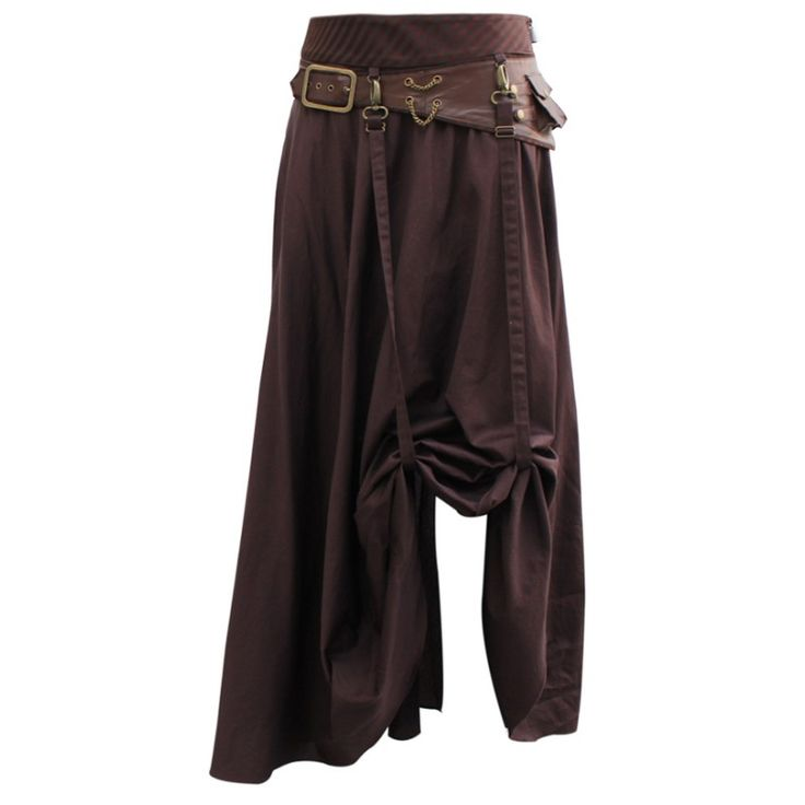 EW-107 - Long Brown Steampunk Skirt with Leather Belt and Chain Detail