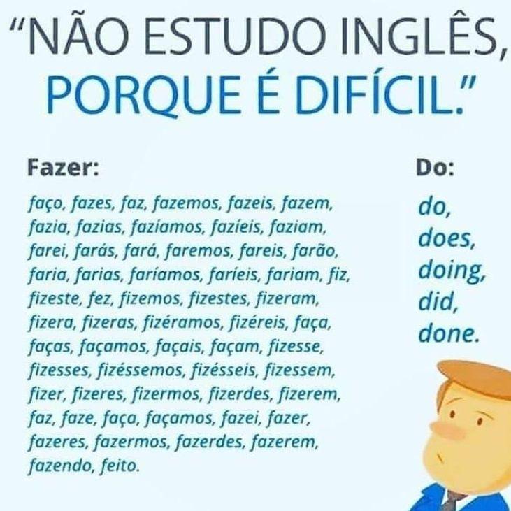 Nao Estudo Ingles Porque E Dificil E Quem Disse Que O Portugues E Facil Palavras Do Vocabulario Como Estudar Ingles Ingleses