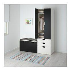 STUVA Förvaringskombination med bänk, vit, svart - 150x50x192 cm - IKEA