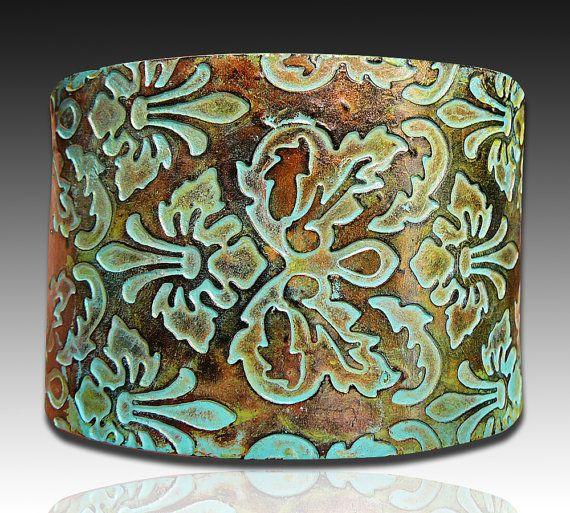 Brocade copper and patina polymer clay cuff by adrianaallenllc
