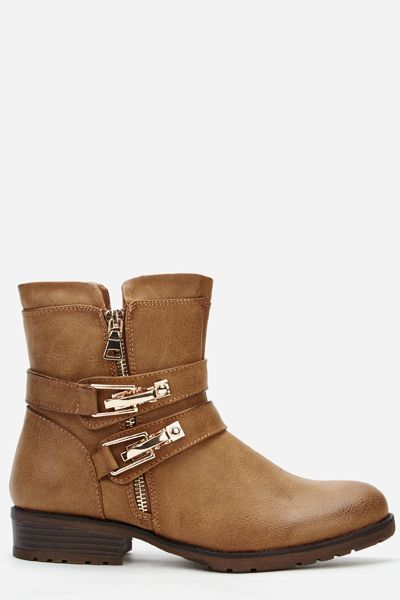 Twin Buckle And Zip Detail Faux Leather Boots