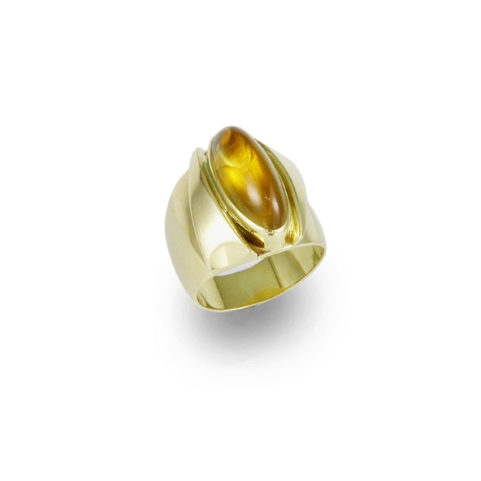 An 18ct Yellow gold ring with a Navette cut Golden Citrine.    This is an original Jens Design, known as the Eye of Saurson.     The design is available in other metals.     Approx price $5990