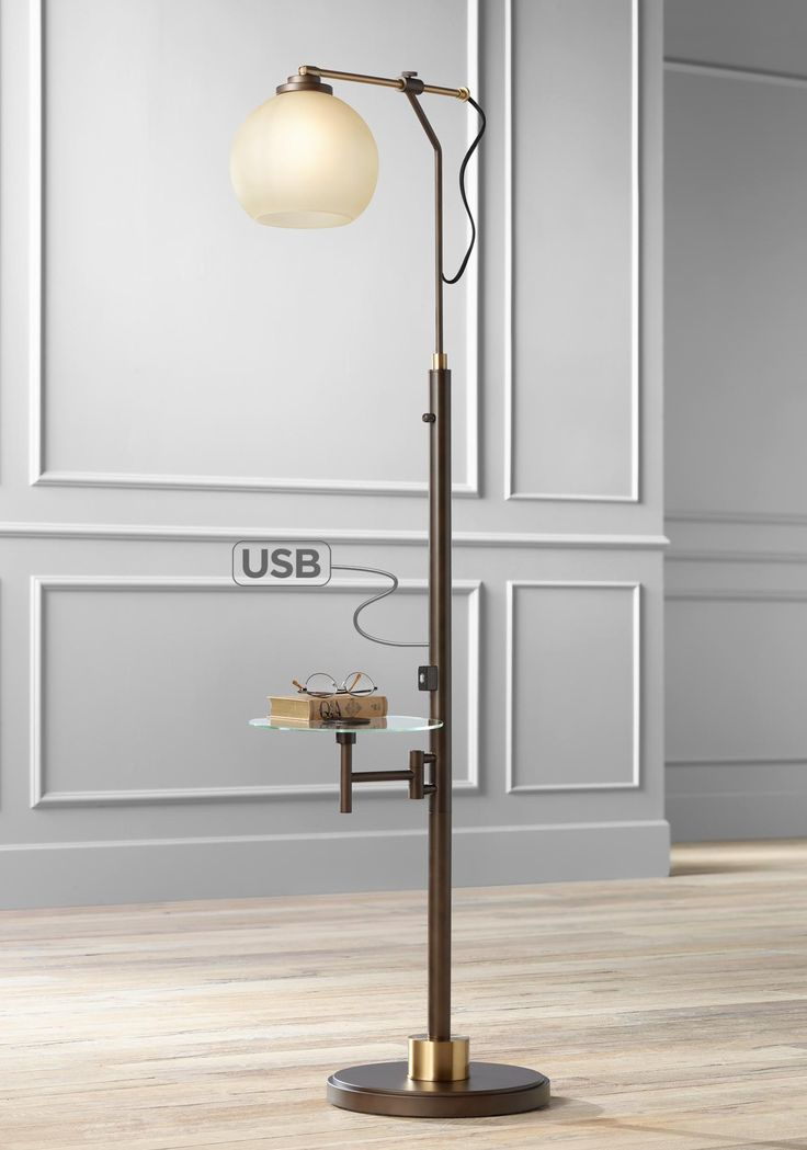 Jobe Industrial Floor Lamp With Tray Table And Usb Port In