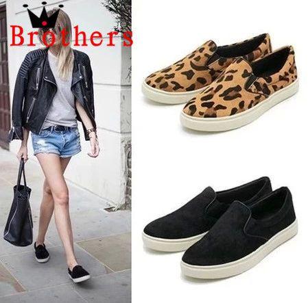 высокая quality2014 моды весной и летом скольжения одиноких женщин на леопардовым принтом случайного заклепки Loafer квартиры обувь падение по магазинам 952,89