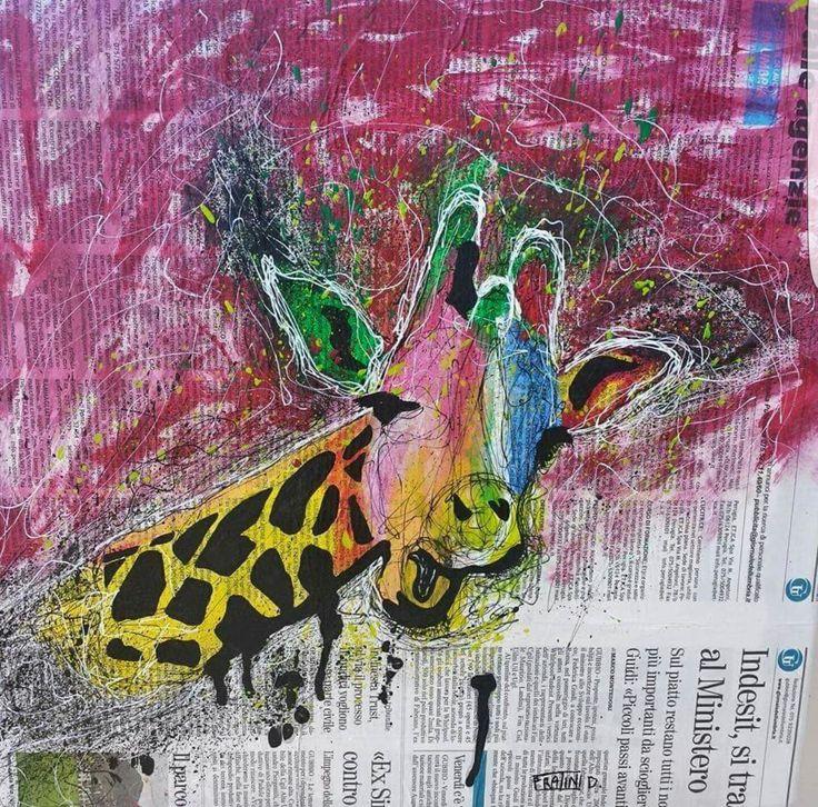 Giraffa Pop Acrilico su tela con Giornale 40cmx40cm 2015 byDaniele Fratini