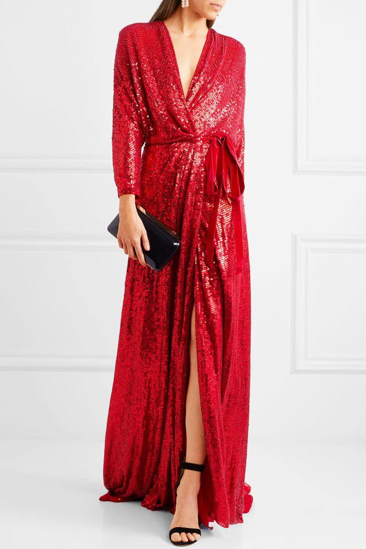 Jenny Packham | Velvet-trimmed sequined silk wrap gown | NET-A-PORTER.COM