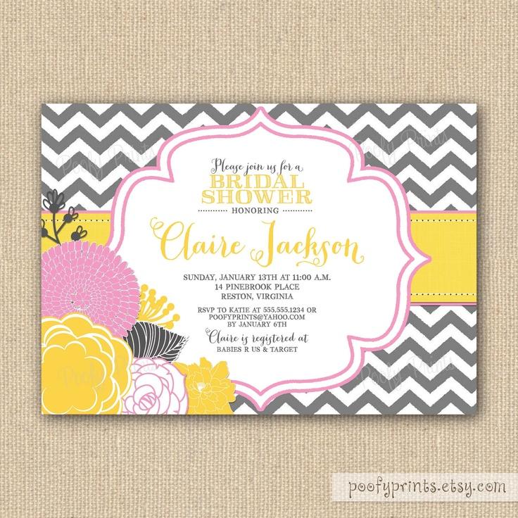 Chevron Bridal Shower Invitations Printable Gray Yellow