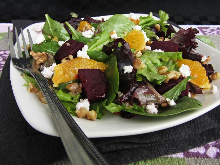 roasted beet and orange salad with citrus dressing with goat cheese ...