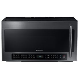 Samsung 2.1-cu ft Over-the-Range Microwave with Sensor Cooking Controls (Black Stainless) (Common: 30-in; Actual: 29.875-in)