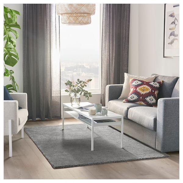 "stoense rug low pile medium gray 4 ' 4""x6 ' 5""  ikea"