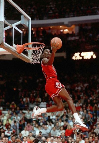 Michael Jordan dunks at 50 (video)