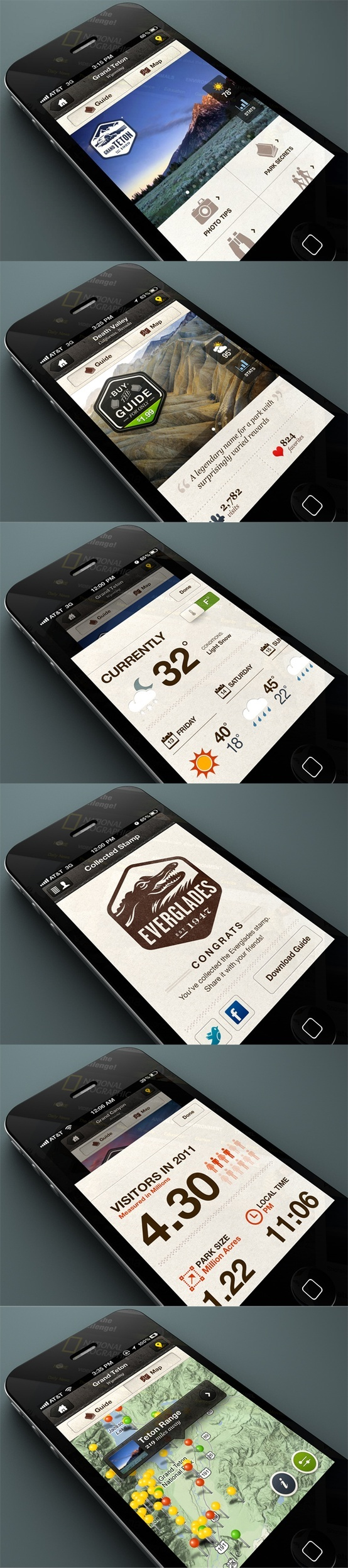 Interface mobile / National Parks by National Geographic
