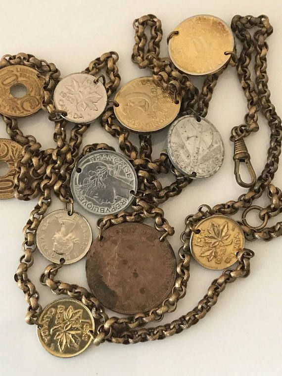 Pocket watch chain long guard multi coin brushed gold finish world coins  1953 Elizabeth II - Canadian One Cent 1953 Elizabeth II - Canadian One Cent 1936 10c Liberte, Egalite, Fraternite   1942 1 FRANC WWII Battle Axe 1942 5 Aurar Iceland  1927 UK penny  1936 10 centavos 1948 1c