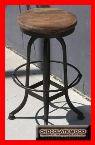NEW Vintage Industrial Stool Metal Base With Timber TOP