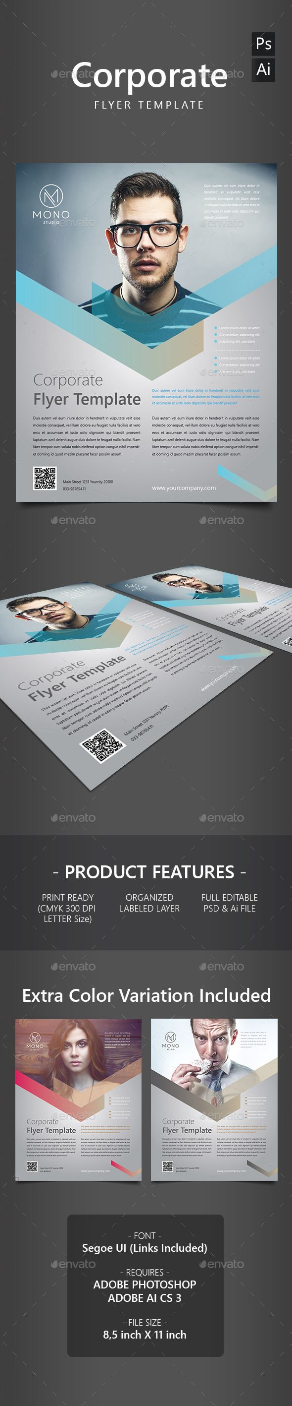 Corporate Flyer Template PSD, AI #design Download: http://graphicriver.net/item/corporate-flyer-template/13823277?ref=ksioks