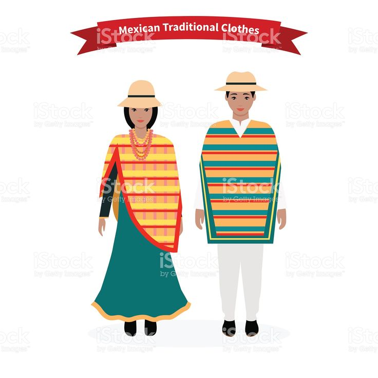 Mexican Traditional Clothes People royalty-free stock vector art