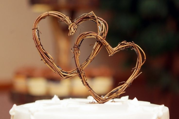 Wooden heart wedding cake toppers, from Eau Claire, Wisconsin wedding