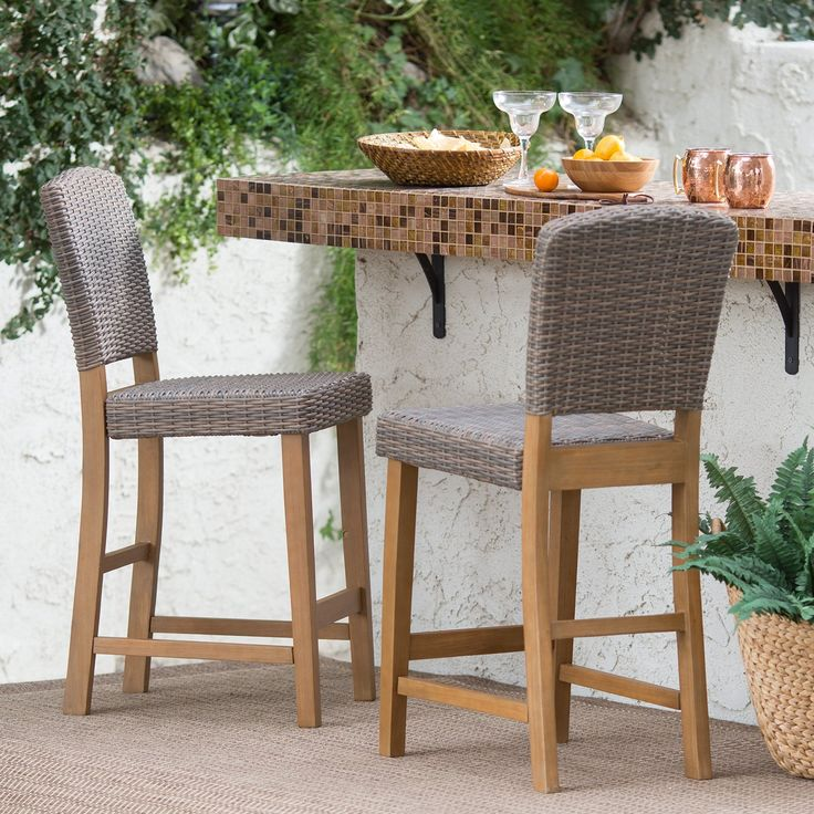 Coral Coast Avalonia All Weather Wicker Balcony Height Patio Bar Stool   Set  Of 2