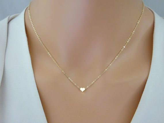 Tiny Gold Heart Necklace, Bridesmaid gold heart necklace, Silver, Rose gold heart necklace, 14K Gold fill chain delicate heart pendant
