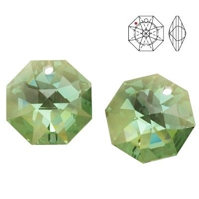STRASS Swarovski 8115 Octagon 14mm Antique Green GSHA with 1 hole  Dimensions: 14,0 mm Colour: Antique Green Golden Shadow 1 package = 1 piece