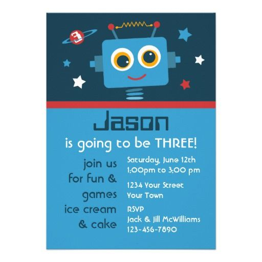 20 best Robot birthday theme images on Pinterest Birthday party - best of invitation birthday party text